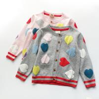 女童毛衣外套2018春装新款儿童纯棉百搭爱心长袖针织开衫上衣