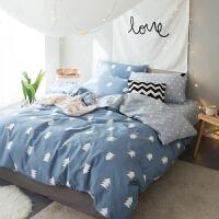 家纺北欧简约风纯棉被套床单四件套活性全棉小清新双人床上用品1.8米 花色 北海风