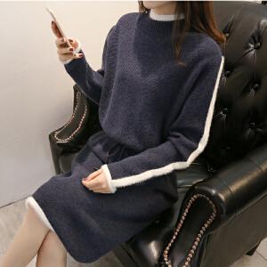 2018新款韩版冬季女装高领套头针织时尚冬季宽松长款系带长袖毛衣