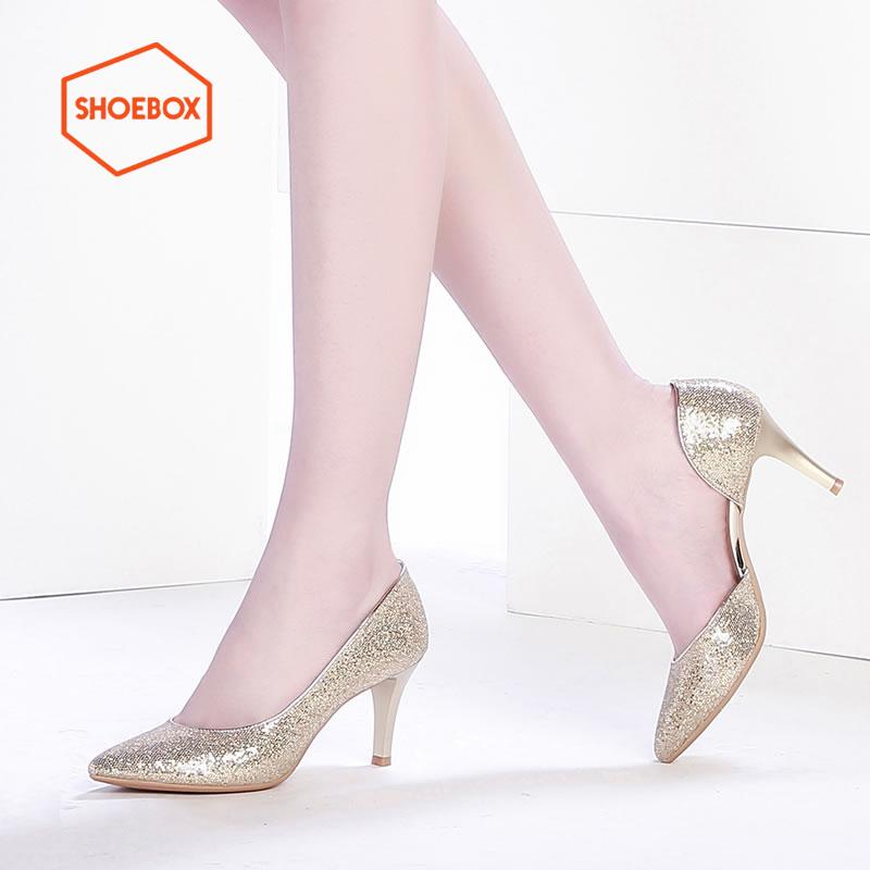 达芙妮旗下SHOEBOX鞋柜/苹绮 时尚侧空亮片尖头高跟鞋 酒杯跟浅口单鞋女