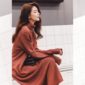 七格格长袖纯色针织连衣裙子2017秋装冬季新款韩版宽松显瘦时尚中长款女