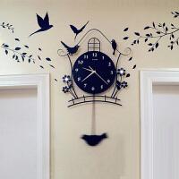 御目 挂钟 夜光现代装饰欧式个性静音摇摆挂钟客厅时尚卧室创意家用小鸟钟表墙壁装饰