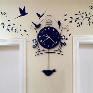 挂钟 夜光现代装饰欧式个性静音摇摆挂钟客厅时尚卧室创意家用小鸟钟表墙壁装饰