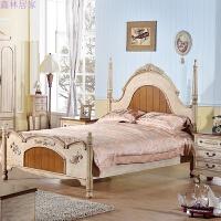 美式乡村床 次卧木床1.5米 双人欧式复古实木床简约床 美式家具 主图色 图片色