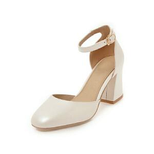 ELEISE美国艾蕾莎新品152-820韩版磨砂绒面高跟粗跟中空女士单鞋