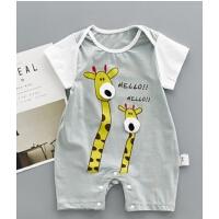 婴儿夏款短袖爬服薄连体衣0-1岁男女宝宝卡通长颈鹿婴童夏季哈衣