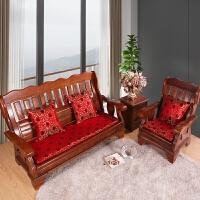 中式沙发坐垫防滑实木沙发座垫加厚海绵可拆洗三人单人可定做