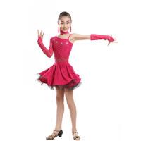 女童练功表演考级连衣裙 儿童拉丁舞演出服蕾丝烫钻春夏拉丁舞裙