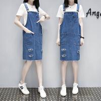 2018大码女装胖牛仔背带裙中长新款显瘦两件套韩版宽松连衣裙子