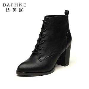 达芙妮正品女靴秋冬时尚尖头粗高跟女靴子系带高跟鞋时尚短靴女鞋