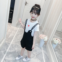 女童夏装2018新款套装中小儿童背带裤两件套小女孩夏季衣服韩版潮