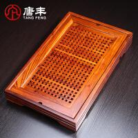 唐丰原木红木花梨木茶盘实木排水式茶台功夫茶具长方形实木茶海