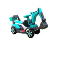 新款儿童挖掘机可坐可骑大号电动挖土机钩机男孩玩具车不带遥控车 蓝色 电动款+音乐彩灯 官方标配