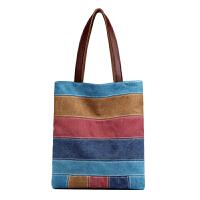 新款女包帆布包拼接女士单肩包简约条纹民族休闲手提包购物袋式包 主图
