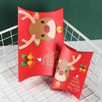 新款韩国创意糖果盒圣诞节礼品盒大号圣诞麋鹿包装枕头盒小号定制 红底麋鹿大号 29.2*16cm