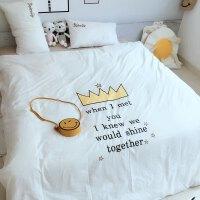 皇冠水洗棉四件套棉床单床笠刺绣棉春熙床上用品卡通儿童宿舍