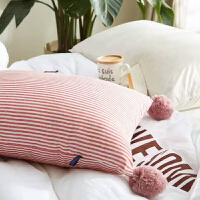 日系条纹抱枕可爱毛球球沙发靠垫全棉午睡靠腰枕含芯可拆洗方形枕 含芯