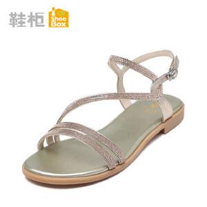 达芙妮集团 鞋柜2016夏季新款时尚水钻凉鞋休闲平跟简约一字扣带女鞋