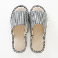 日式居家居亚麻拖鞋夏季男女情侣室内家用地板防滑棉麻厚底凉托鞋
