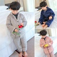 儿童家居服套装男童睡衣冬季加绒加厚男孩保暖三层夹棉宝宝两件套