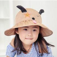 儿童帽子户外遮阳帽薄款太阳帽防晒帽女童潮可爱盆帽渔夫帽
