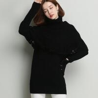 冬季新品针织毛衣打底衫 拼接斗篷纯色高领女式羊毛衫 毛衣女