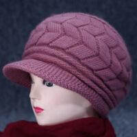 老年人帽子女秋冬季女士毛线帽冬天中老年加绒保暖针织时装帽中年