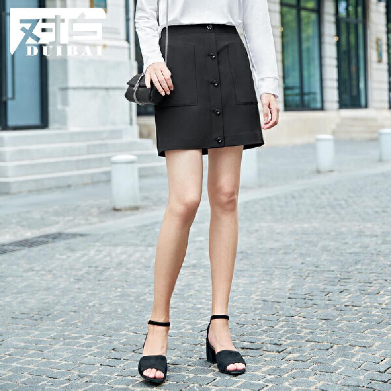 对白纽扣口袋装饰A字半身裙女秋冬新款时尚黑色短裙子A字半身裙 装饰纽扣 几何口袋 时尚有型