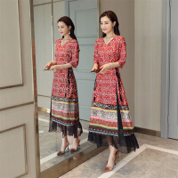 韩版潮流时尚连衣裙花色领纱裙年春季七分袖长裙