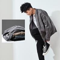 【2.5折价99.9元】唐狮灯芯绒长袖衬衫男冬季加厚系潮流保暖宽松学生衬衣外套