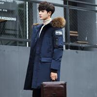 大毛领男士棉衣中长款外套新款冬季加厚青年羽绒韩版棉袄