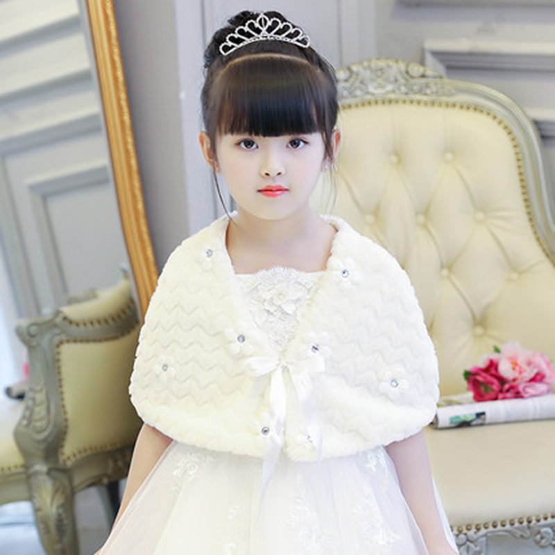 秋冬季女童花童礼服配饰斗篷披肩儿童婚纱礼服加厚加棉毛披肩大童 白色