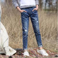 儿童裤子女童修身破洞牛仔长裤小脚铅笔裤 春秋季新款中大童学生装 如图