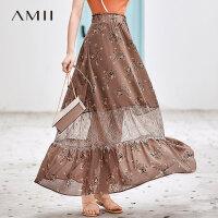 【折后价:130元/再叠300-30元券】Amii极简法式仙女气质半身裙女2019夏季新款拼蕾丝印花雪纺长裙子