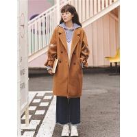 双排扣毛呢外套秋冬女装2019新款韩版宽松气质中长款流行呢子大衣
