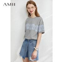【券后到手价:83.9元】Amii极简休闲印花短袖T恤2020春新款卫衣棉打底衫宽松百搭上衣女