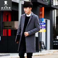 男士中长款西服春秋季韩版潮流呢子大衣冬季帅气修身毛呢披风外套