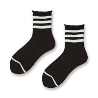 春夏学院风纯棉女袜条纹中筒袜日系运动女士短袜韩国堆堆袜 均码