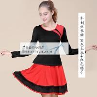 广场舞短袖上衣 秋装跳舞短裙舞蹈演出服服装新款套装夏季运动 拼肩长袖黑色+双摆裙