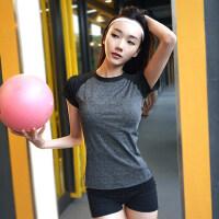 运动上衣女宽松健身服大码速干T恤圆领透气瑜伽短袖跑步罩衫