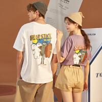 [直降]唐狮情侣装夏装新款宽松潮流短袖t恤男半袖女白色青少年上衣