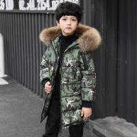 儿童迷彩外套厚款男孩中长款棉袄潮男童棉衣2017冬装新款中大