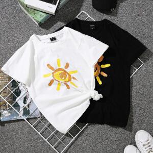 2018夏季新款女装太阳印花短袖宽松T恤女短袖圆领百搭上衣