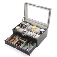 创意礼物皮革欧式双层手表收纳盒 眼镜饰品戒指首饰收纳盒