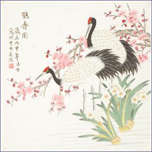 北京美协会员 当代工笔画画家 凌雪《鹤寿图》