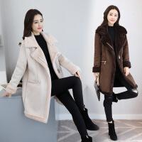 毛呢外套女中长款秋冬新款韩版修身加厚过膝羊羔毛鹿皮绒大衣