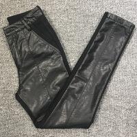 欧洲站新款拼皮加绒加厚打底裤女外穿弹力显�C小脚裤PU皮裤子 黑色 M 26