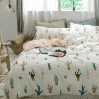 小清新卡通四件套1.8m床ins床单被套学生宿舍床上三件套