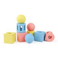 儿童节礼物 男孩几何摇铃玩具婴儿 三件套0-1岁手抓宝宝儿童大米材质积木新品 几何摇铃三件套(大米材质)