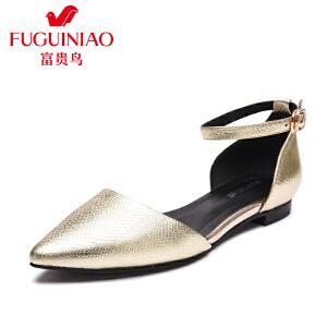 富贵鸟 年春季头层牛皮尖头小方跟低跟女单鞋女鞋女侧空平底鞋